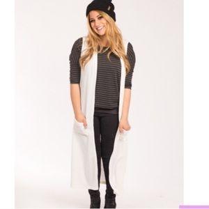 Ivory Sleeveless Duster Sweater Agnes &Dora XL 16+